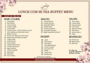 Lunch cum Hi-Tea Menu Card