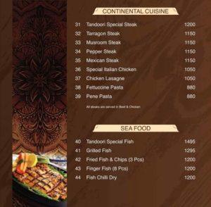 Tandoori Restaurant Complete Menu