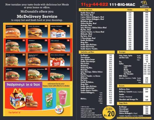 McDonalds Pakistan Menu