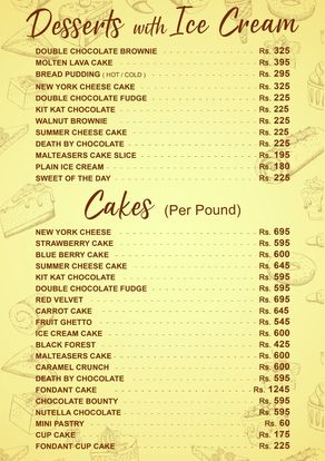 City Cafe & Grill Menu Price desert
