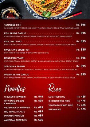 City Cafe & Grill Menu Price noodles
