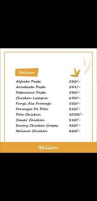 Food Punch Menu Prices Italian