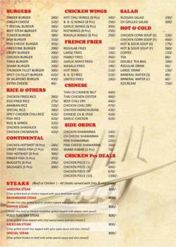 Thames Burger Menu Prices