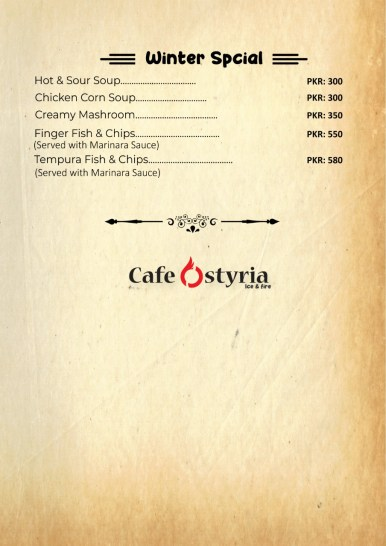 Cafe Ostyria Mall Road Lahore Winter Special