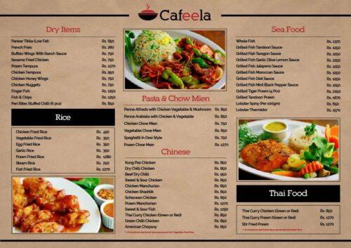 Cafeela Restaurant Menu