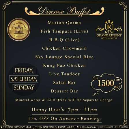 Sky Lounge Faisalabad Dinner Buffet