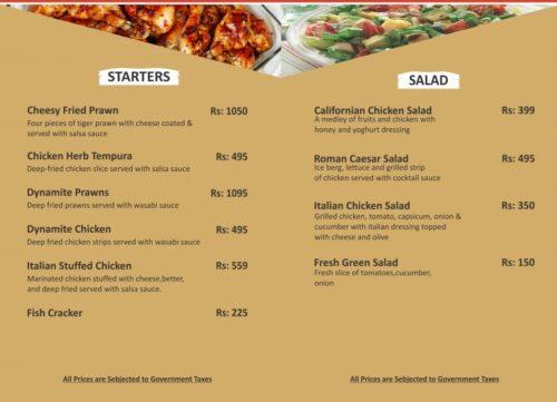 Sky Lounge Faisalabad Menu