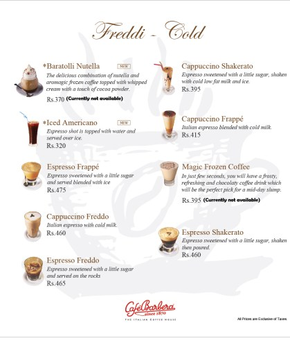 Cafe Barbera Islamabad Cold Coffee
