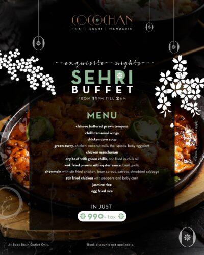 Cocochan Sehri Buffet menu