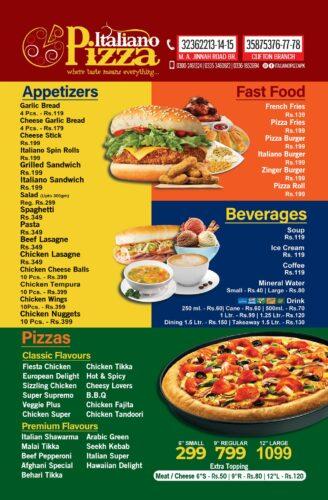 Italiano Pizza Menu