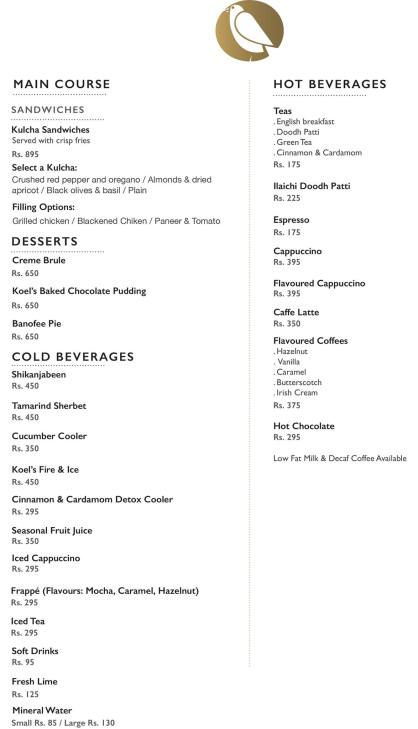 Koel Cafe Karachi Menu 1