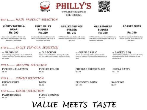 Phillys Burger Menu