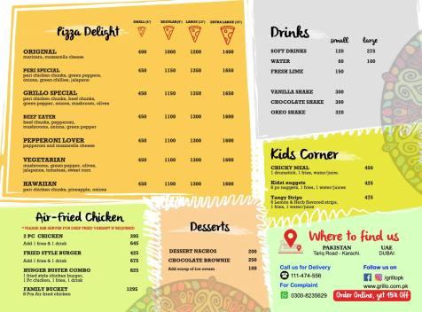 Grillo Karachi Pizza Menu
