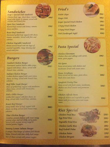 Jeegos menu rates