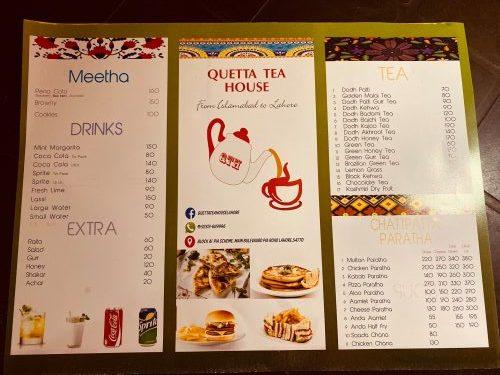 Quetta Tea house menu