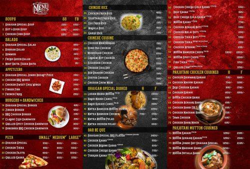 Shaigan Tikka menu