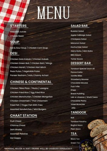 Tandoori Restaurant Hitea menu