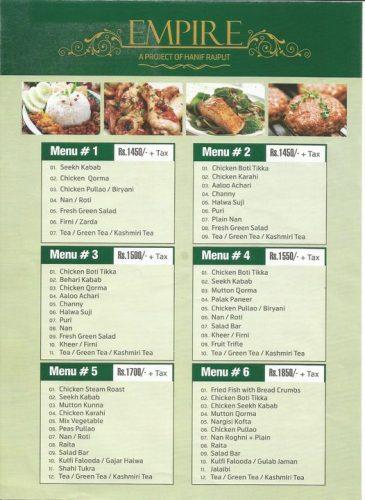 Empire Marquee menu