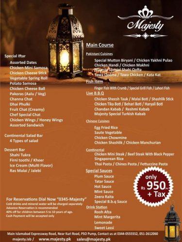 majesty marquee menu