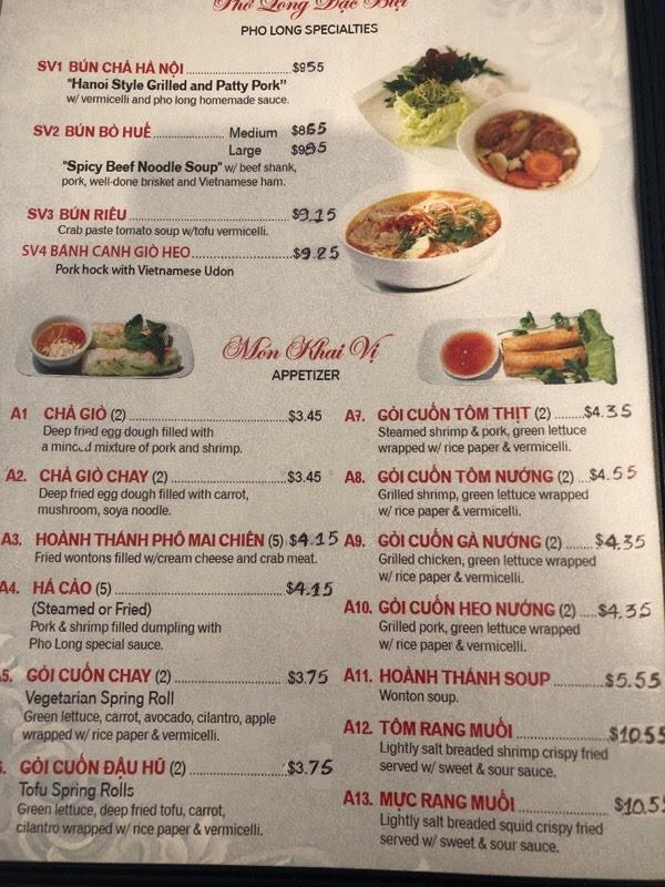 Pho Long Noodle and Grill- Menu- Richardson - Menutex