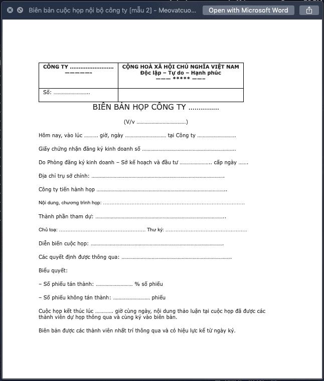 Biên bản họp nội bộ công ty mẫu 2
