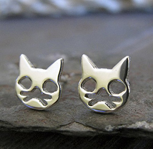handmade sterling silver cat earrings
