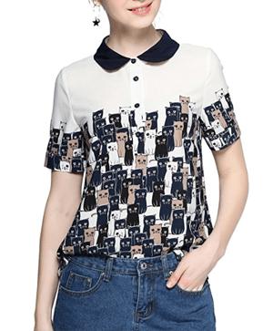 cat blouse button down shirt