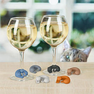 cat wine charms drink markers