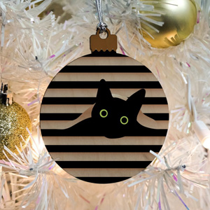 wooden cat christmas ornaments
