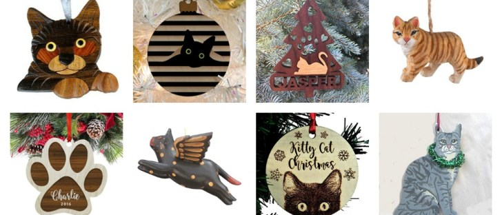 wooden cat christmas ornaments feature