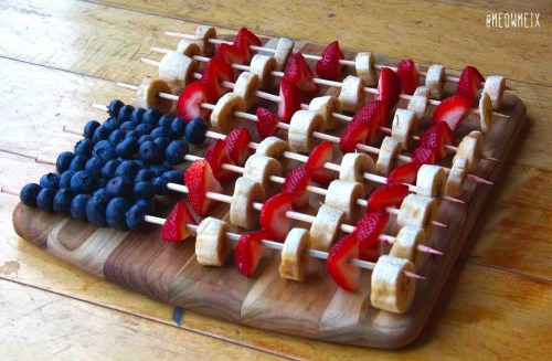 flag fruit skewers