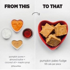 paleo pumpkin fudge, healthy pumpkin recipe