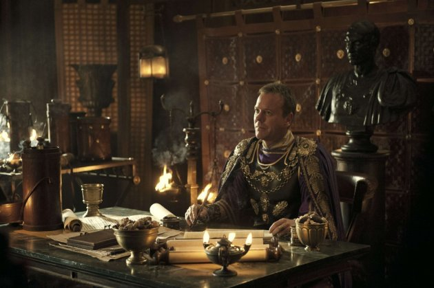 Corvus (Kiefer Sutherland) in TriStar Pictures' POMPEII.