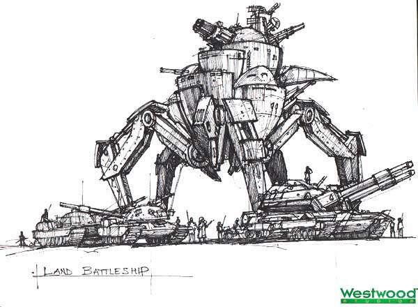 На первых этапах разработки планировалось, что в игру заглянут Огромные Боевые Человекоподобные Роботы (на манер Tiberian Sun), но из-за фарсовой стилистики сиквела от них быстро отказались.