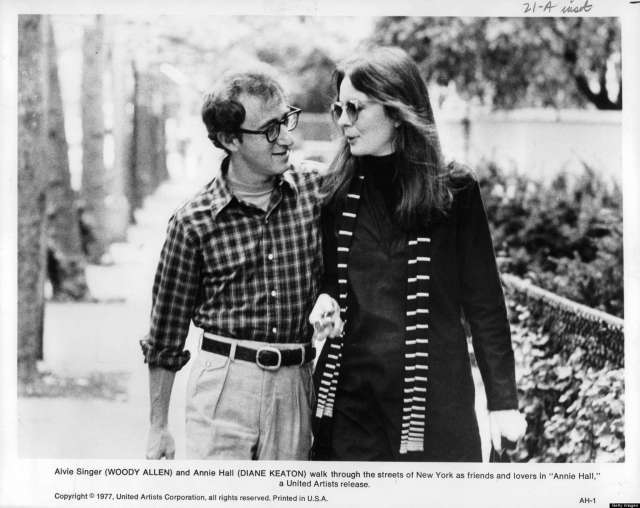 Woody Allen and Diane Keaton going for a walk in a scene from the film 'Annie Hall', 1977. (Photo by United Artists/Getty Images)