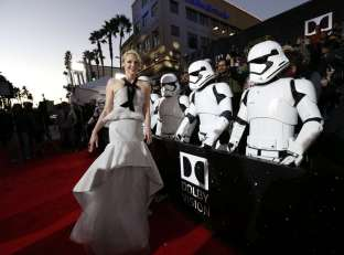 """Actress Gwendoline Christie arrives at the premiere of """"Star Wars: The Force Awakens"""" in Hollywood"""