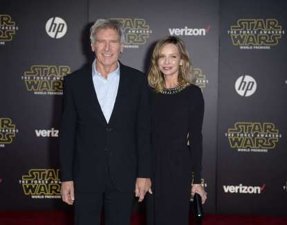 """Actor Harrison Ford and his wife, actress Calista Flockhart, arrive at the premiere of """"Star Wars: The Force Awakens"""" in Hollywood"""