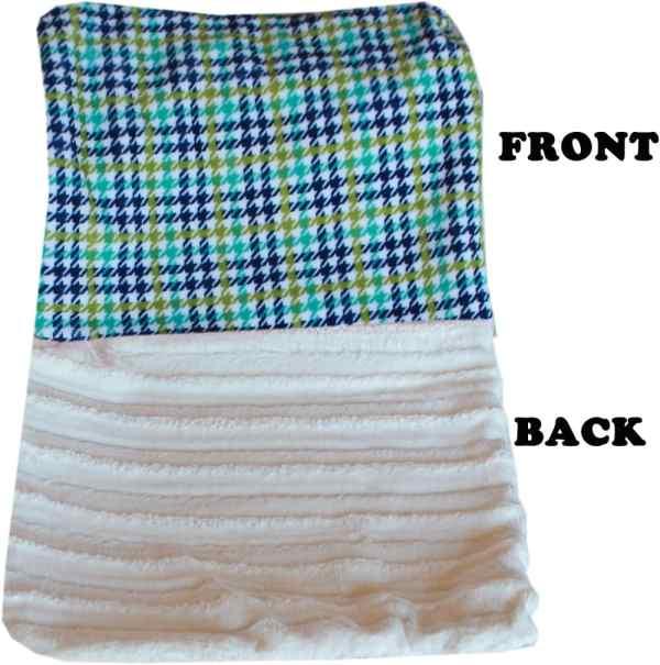 Plush Big Baby Blanket Aqua Plaid