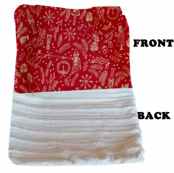 Plush Big Baby Blanket Red Holiday Whimsy