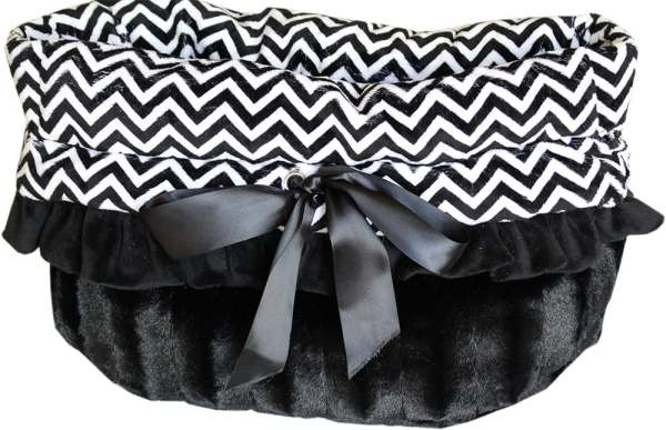 Black Chevron Reversible Snuggle Bugs Pet Bed, Bag, and Car Seat All-in-One 1