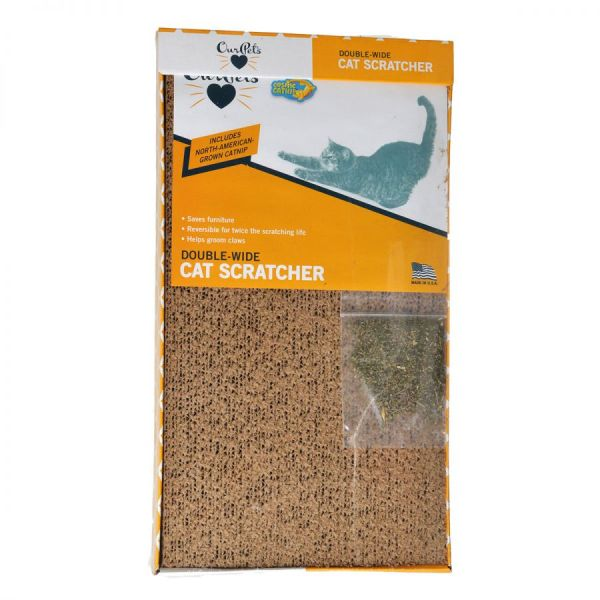 Extra Wide Cardboard Scratcher with Catnip 1