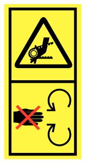 Danger d'entrainement main par courroie
