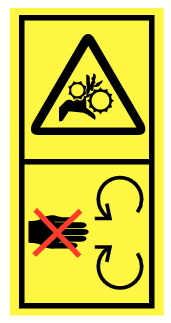 Danger d'écrasement ou entrainement main par pignons