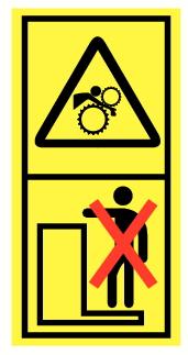Danger d'écrasement ou entrainement corps par rouleaux ou pignons