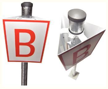 Pictogramme trois faces présence d'un hydrant hors sol en aluminium 200x250mm pour placement sur poteau 51mm.