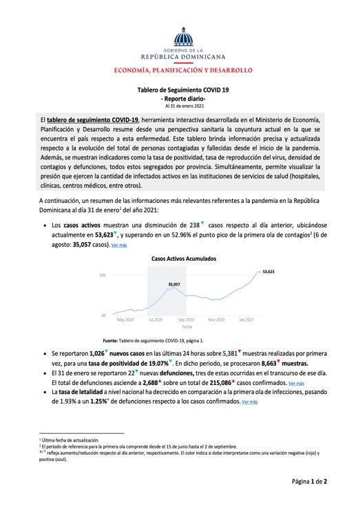 Seguimiento Covid 31 enero