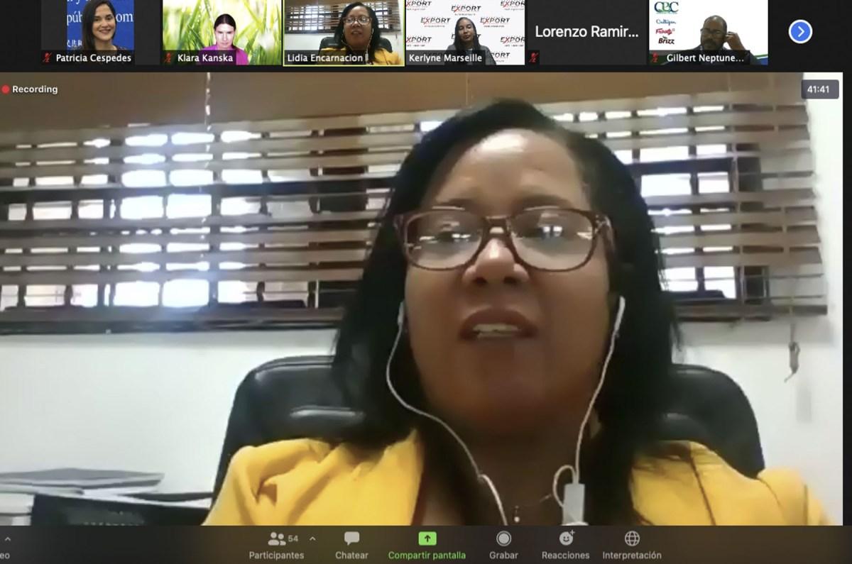La directora de Cooperación Regional, Lidia Encarnación, pronuncia palabras de bienvenida en el acto virtual de lanzamiento de la misión comercial de cinco empresas haitianas.