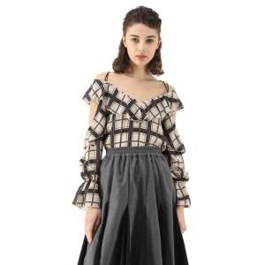 ffa7d88a48b 2018 Casual Sexy Women Blouse Retro Plaid Slash neck Hollow Out Lantern  Sleeve Shirt