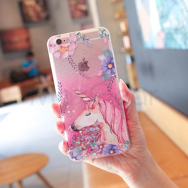 952d8762c3 MaxGear Cute Cartoon Unicorn Liquid Quicksand Glitter Case For ...
