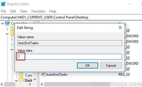 Registry Editor Disable Shutdown Anyway Auto End Tasks 1 Min